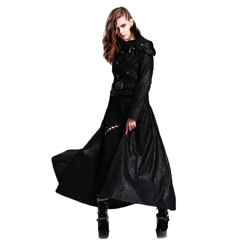 Autumn Winter Gothic jacket Womens Detachable Long Coat Female Long Sleeve Slim-fitting Clothing Black Jackets Windbreakers