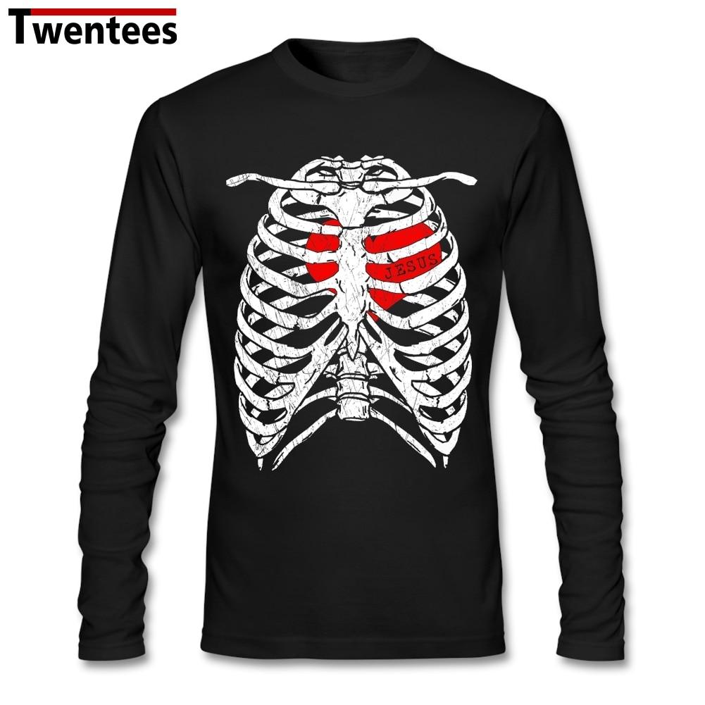 I have Jesus in <font><b>my</b></font> heart <font><b>Rib</b></font> Skeleton Skull Undershirt Tshirts Custom Long Sleeve Couple Tshirts For Men