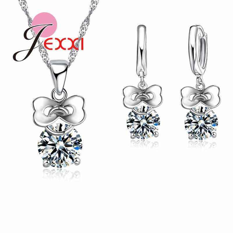 חתונה תכשיטים עבור כלות 925 כסף סטרלינג Zirconia קריסטל עגיל תליון שרשראות תכשיטי סט נשים