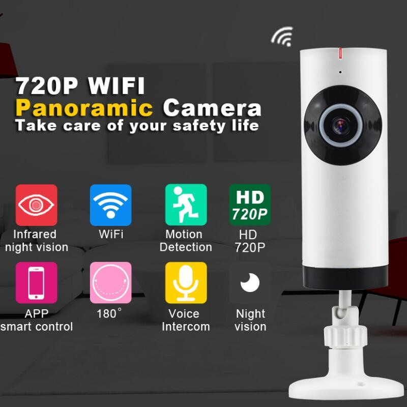 Smar HD 720P Panoramic Camera 360 Degree FishEye Wireless IP Camera Night Vision Mini Baby Monitor Wifi CCTV Security IP Camera new 1080p wifi ip camera panoramic 180 degree view night vision mini wireless baby monitor 2 0mp cctv smart camera security