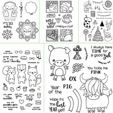 ZhuoAng Cute animal design transparent seal scraping rubber stamp paper process clear card production