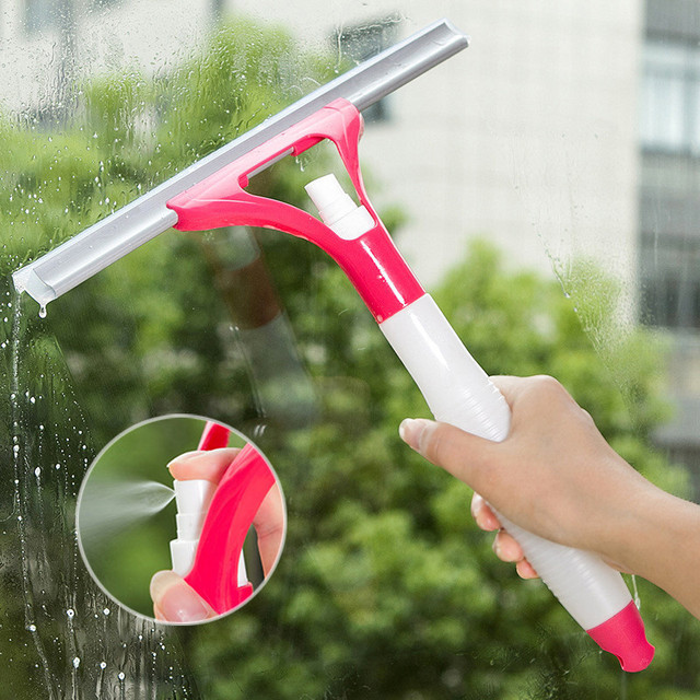 Window Cleaning Brush with Built-In Water Spray