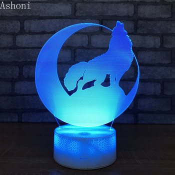 Wolf 3D Table Lamp Baby Touch Control Animal Shape 7 Colors Changing Acrylic Night Light USB Decorative Kids Gifts цена 2017
