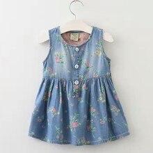 2-7 T Petites Filles Robe D'été Imprimé floral Fille Jeans Robes Sans Manches Denim Mignon Fleur Enfants Vêtements Enfants vêtements