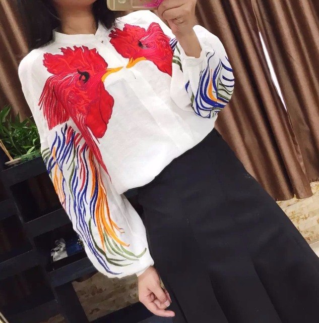 New 2017 spring summer runway fashion women girls rooster heavy embroidery blouse loose style lantern sleeve tops black white