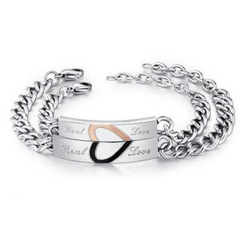 NIBA Bracelets d amour r el pour Couple en acier inoxydable breloques pour amoureux cadeau Puzzle