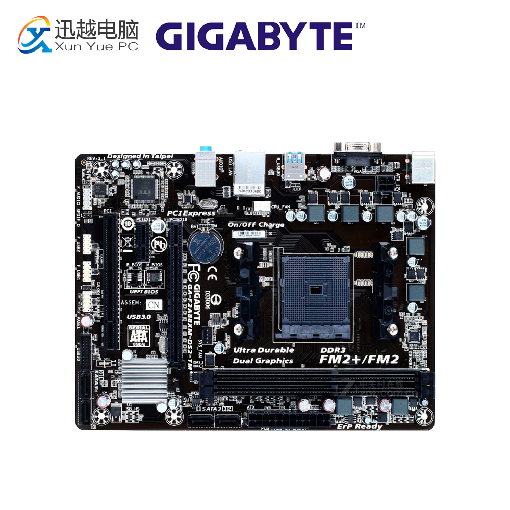 Gigabyte GA-F2A88XM-DS2-TM Desktop Motherboard F2A88XM-DS2-TM A88X Socket FM2 64G DDR3 SATA3 USB3.0 Micro ATX original motherboard for gigabyte ga f2a55m ds2 ddr3 socket fm2 f2a55m ds2 board a55 usb2 0 desktop motherborad free shipping