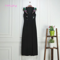 Mifairy Black V Collar Flare Sleeveless Brand Same Style Dresses Women High End Florals Embroidery Milan