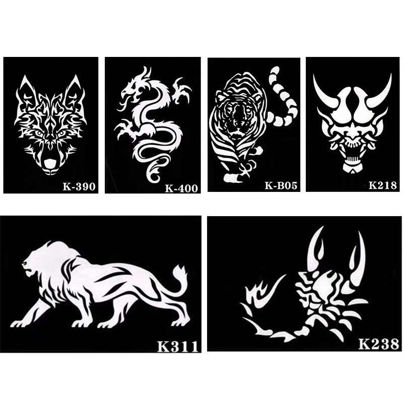 xmasir 6 Sheet Large Glitter Airbrush Tattoo Stencil for Men,Wolf Tiger  Dragon Templates For Back Arm Body Painting 21 * 15cm