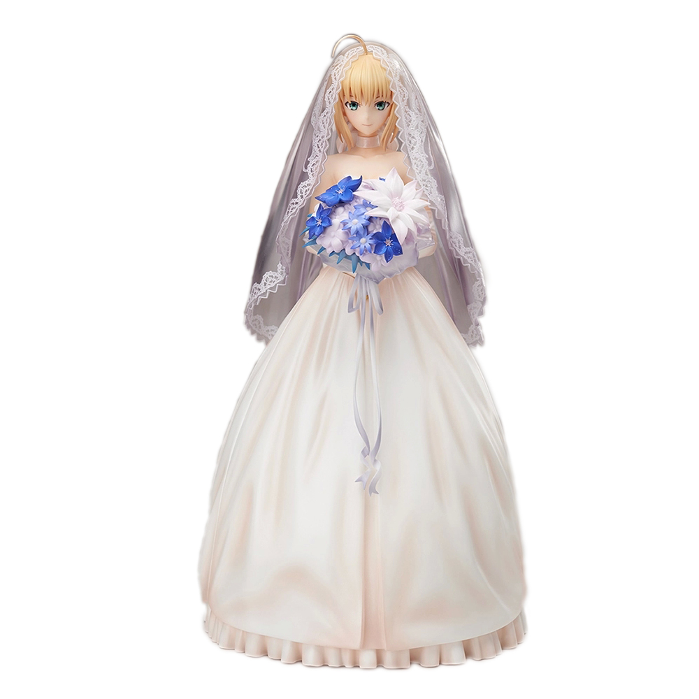 "9.5"" Fate Stay Night Saber Figure Lily10Th Anniversary Wedding Dress Regal Robes Boxed Pvc Action Figure Collection Model"