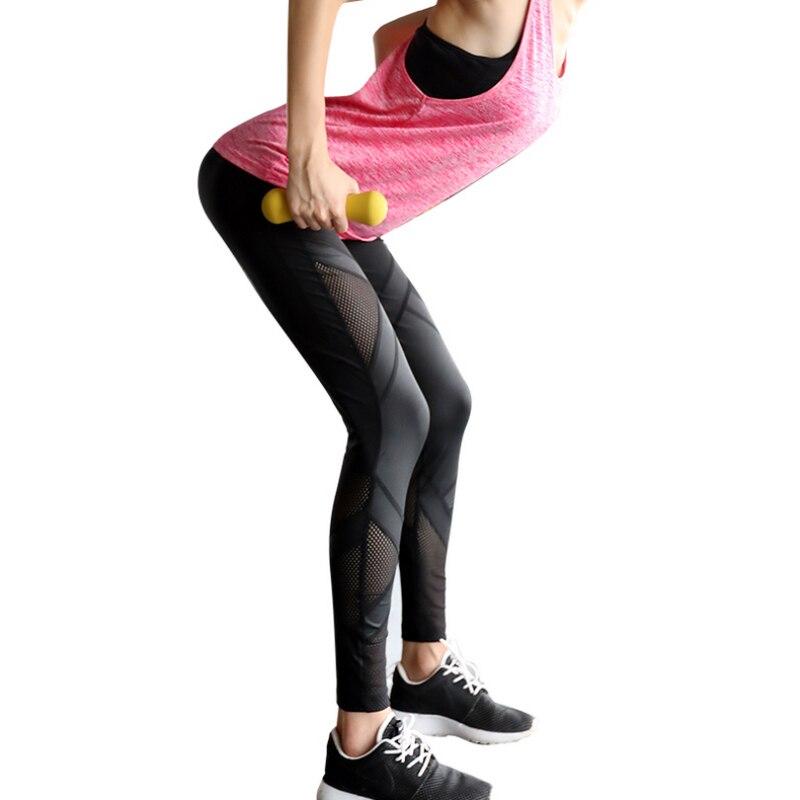 Yoga Pants font b Women b font Hollow Out Mesh Pants Fitness Running Tights Gym font
