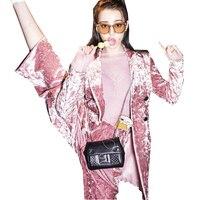 2019 женский осенне зимний модный двубортный бархатный блейзер, куртка + розовые длинные штаны, костюм, деловой Бархатный комплект одежды Y250