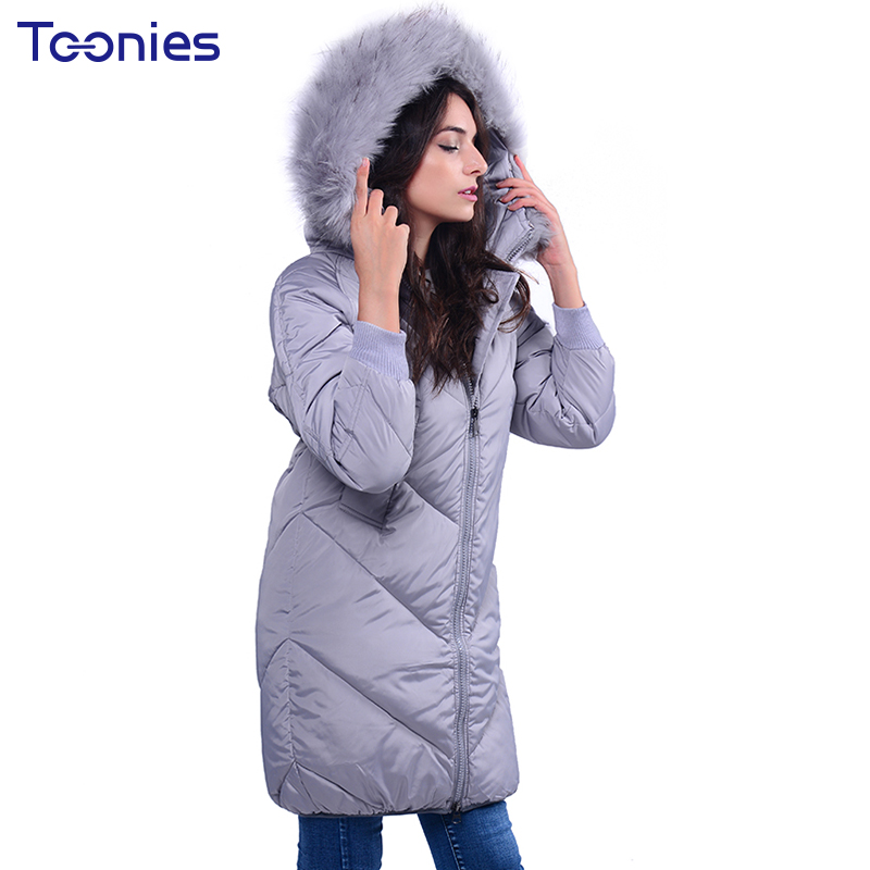 Women Winter Padded Parkas With Fur Hooded Thick Overcoat Jackets Coat Clothing Jaquetas Feminino Loose Casual Warm Tops 2017 winter jacket women hooded thick casual jackets luxury leather and fur warm jackets fsahion clothing from china