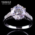 YANHUI Luxury 2 Carat CZ Diamond Sapphire Wedding Rings For Women lady's White Gold Filled Engagement Ring Fashion Jewelry YR419