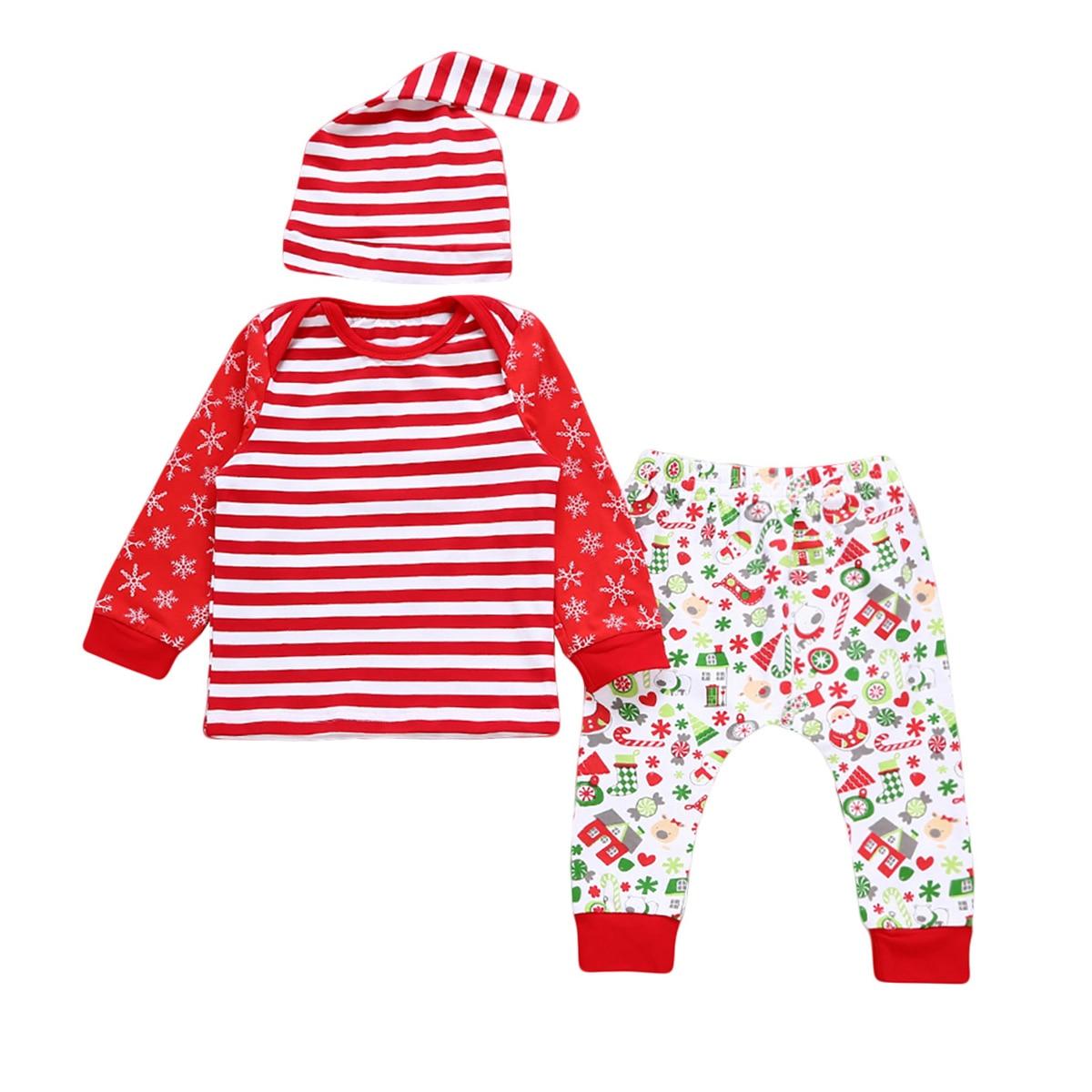 100% QualitäT 2017 New Christmas Baby Kostüme Tuch Säuglings Kleinkind-baby-mädchen Streifen T-shirt Candy Druck Outfits Newborn Christmas Set Buy One Give One