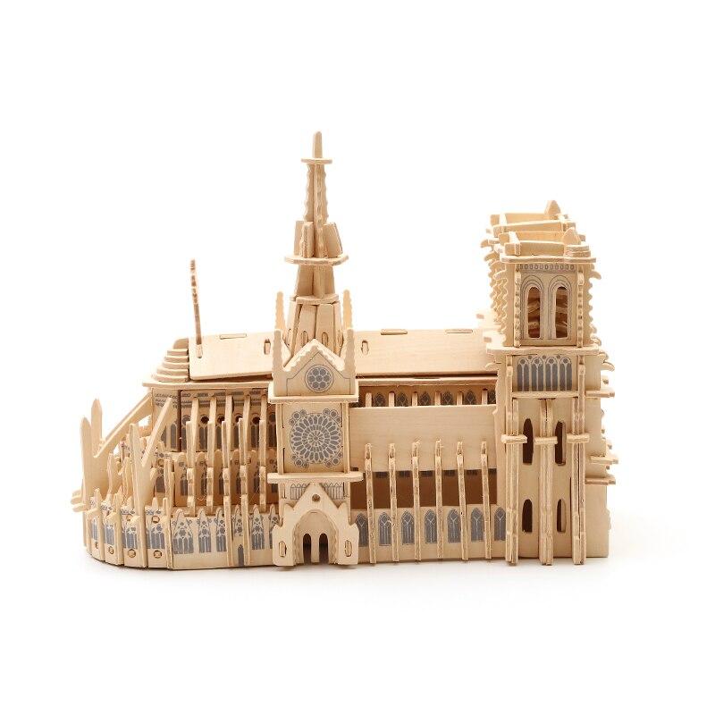 Bois Puzzle bois bricolage artisanat enfants en trois dimensions Puzzle jouet modèle 3D en bois fait à la main Notre-Dame de Paris - 3