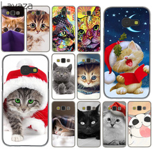 Фотография Merry Christmas cats Grey lovely cute cat Hard Case for Galaxy A3 A5 J5 (2015/2016/2017) A7 J7 2015 J3 J5 Prime Note 3 4