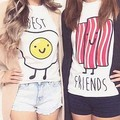 new way kawaii soft bacon egg students printed t shirt Harajuku best friends tees Hipsters femme