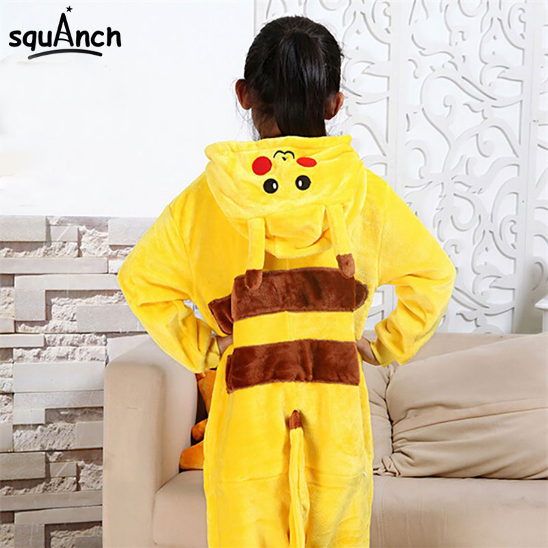 Kugurumi Tutina Animale Costume del capretto morbido di Flanella Morbida Tutta Pigiama di Un Pezzo Della Ragazza del Ragazzo Bambino Pokemon Panda Pikachu Inverno Sonno vestito