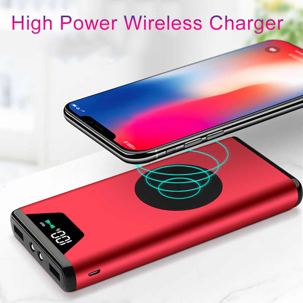 Wireless Battery Charger 20000mah Qi Wireless Charger Power Bank For Iphone X 8 8 Plus Dual Usb Battery Charger Wireless Powerbank For Samsung S9 S8