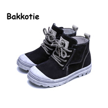 Bakkotie 2017 Spring And Autumn Gray New Baby Fashion High Shoes Children Girl Platform Baby Boy Shoe Kid Brand Black Lace Up