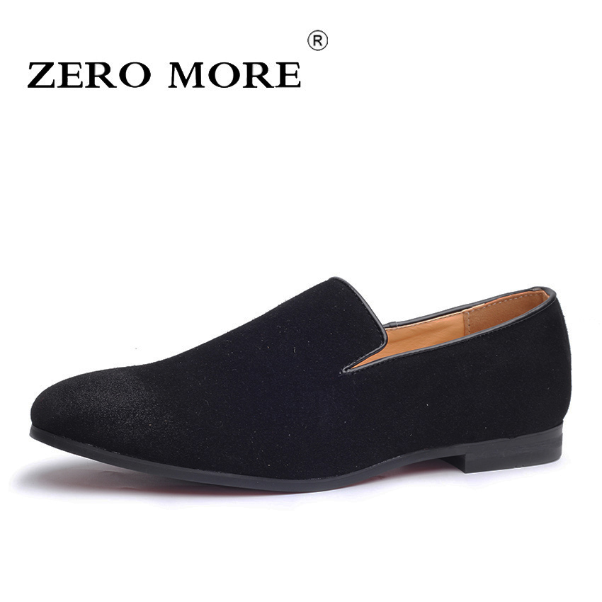 Moccasins On-Shoes Men Loafers Slip Suede Black Blue Large Casual Fashion Breathable