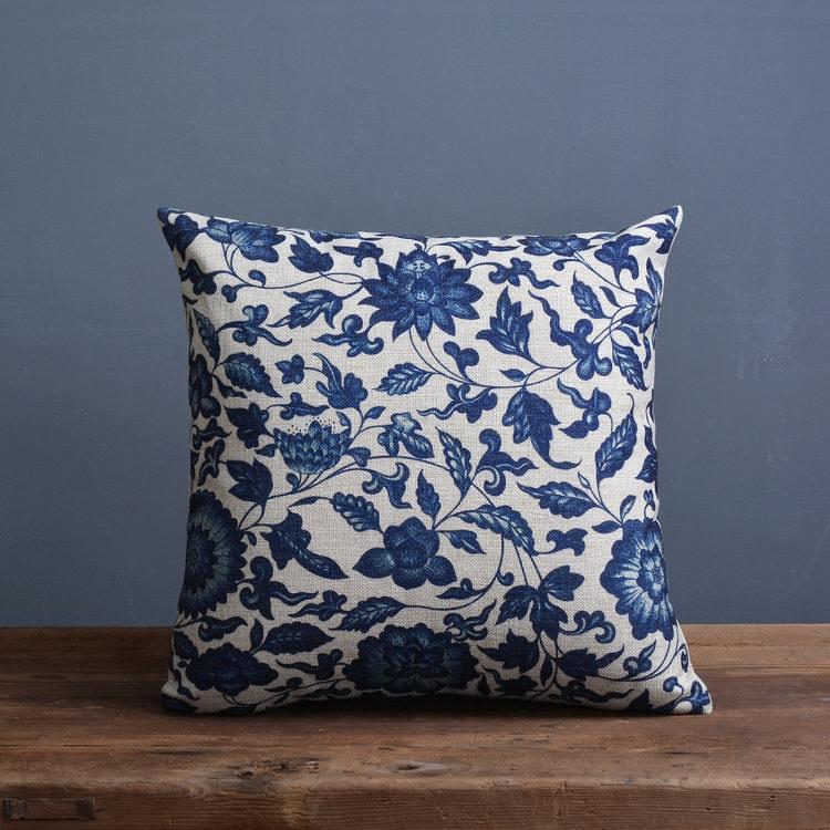 Blue Porcelain Pattern China Flower Decorative Pillow Linen Cotton