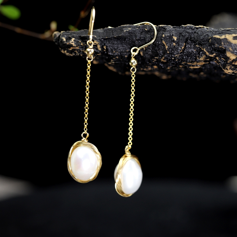925 sterling silver 13MM big pearl drop earrings gold noble fashion luxurious baroque pearl drop water earrigns for women gift pair of sweet rhinestone faux pearl water drop earrings for women