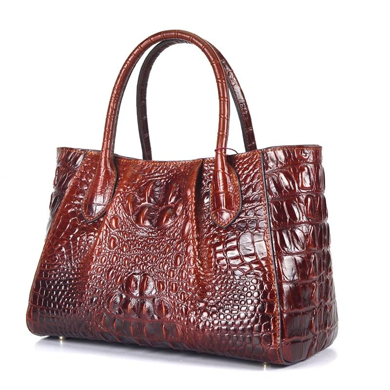 Oil Wax Cowhide Women Shoulder Tote Handbag Retro 100 Genuine Leather Crocodile Pattern Cross Body Messenger