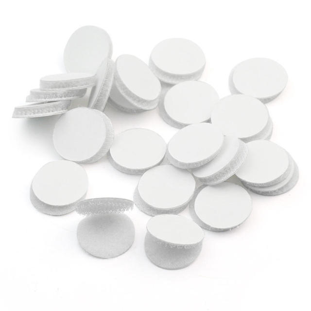 50 pairs magic nylon coin sticker double sided adhesive hooks loops disks white round pads dot