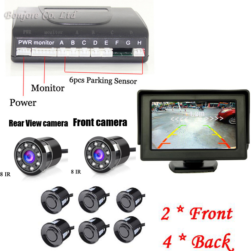 4.3inch hd mirror monitor & Auto Parking Sensor Reverse Backup Assistance Radar image System 8 IR Night Vision Rear Front camera mf2300 f2