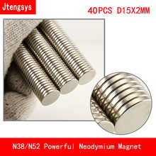 40pcs 15mm x 2mm N38 N52 cylinder Neodymium Permanent super Magnet 15*2 NEW Art Craft Connection 15*2mm