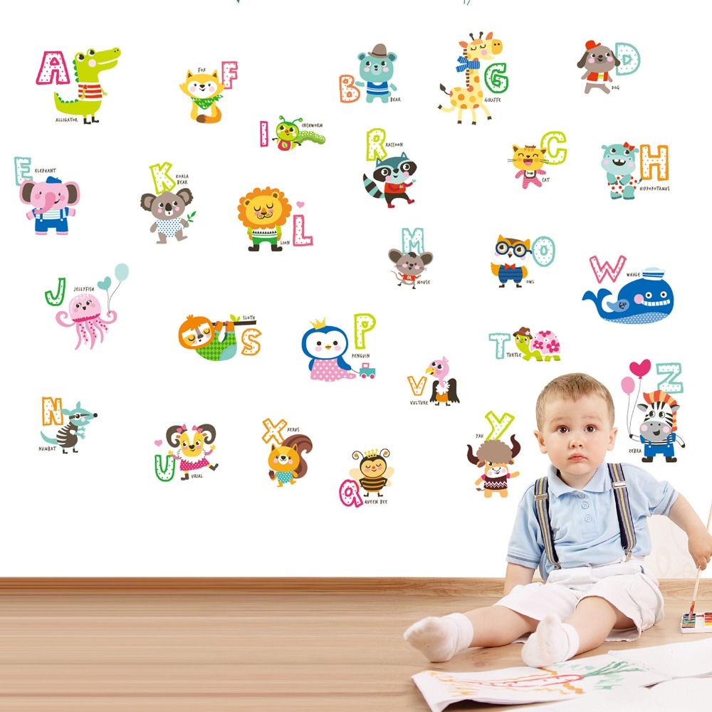 Cartoon English Alphabet Letters Animal Wall Decal Art