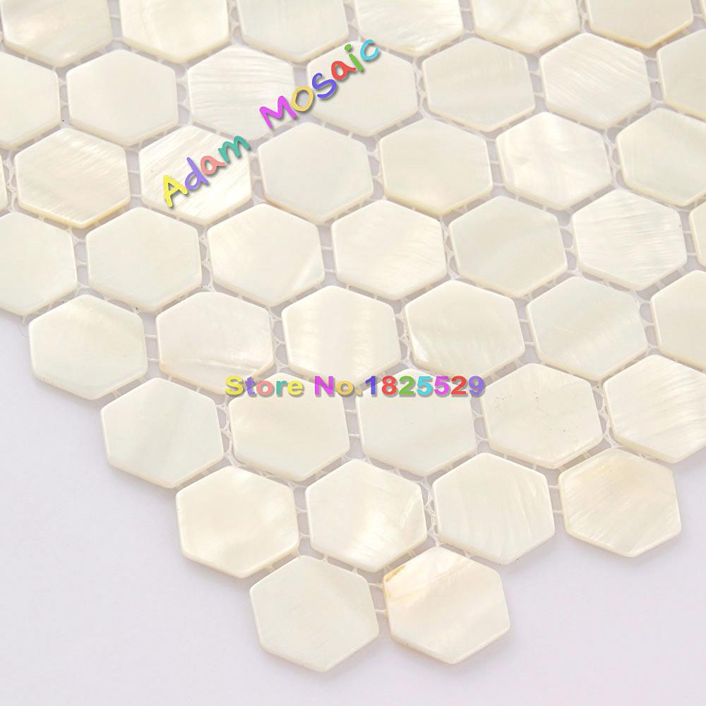 Hexagon Tiles White Mother Of Pearl Tiles Bathroom Wall Backsplash ...