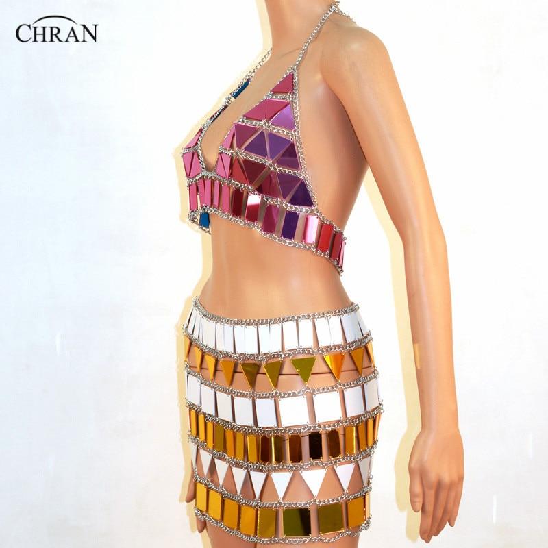 Chran WHP Perspex Rave Top Sonus Festival Chain Bra Harness Necklace Body Belly Belt Skirt EDC Outfit Wear Bikini EDM Jewelry