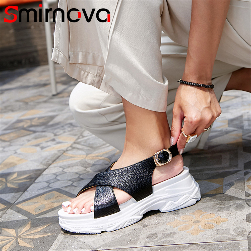 Smirnova 2018 fashion summer new shoes woman buckle sandals women flat platform casual comfortable genuine leather shoes free shipping fashion summer 2017 new women shoes casual genuine leather flat shoes breathable soft comfortable