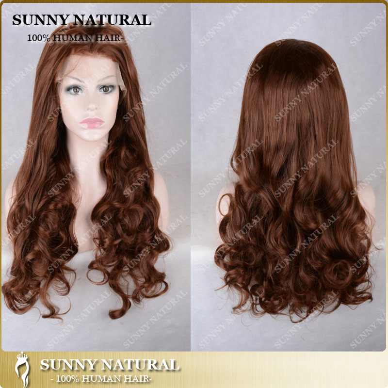 meilleure qualit mode bon march long brun fonc onduls boucls synthtique perruque avant de lacet aucun rejet daucun embr - Poux Sur Cheveux Colors