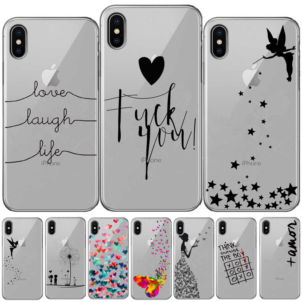 Love Laugh Life Silicone Case For iPhone 11 Pro XR XS Max Butterfly Tinkerbell Case For iPhone X 8 7 6 6S Plus 5 5S SE TPU Cover