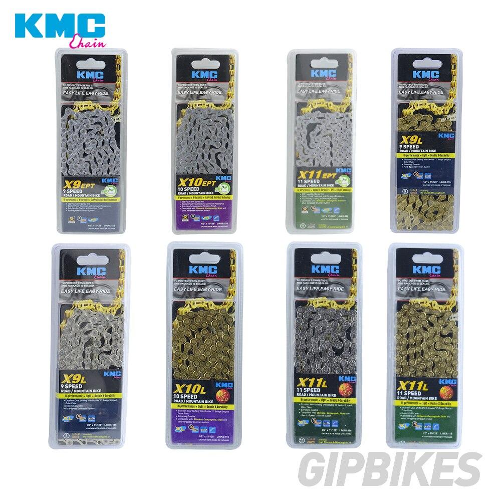 KMC X8 X9 X10 X10 EPT X9L X10L X11LBike Ouro Cadeia 11 10 9S S S para MTB/ bicicleta de estrada para Shimano/SRAM 8 9 10 11 velocidade 116L/corrente de bicicleta
