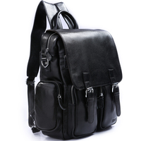 TIDING Zipper backpack for the school student bag black color mens leather backpack 31011