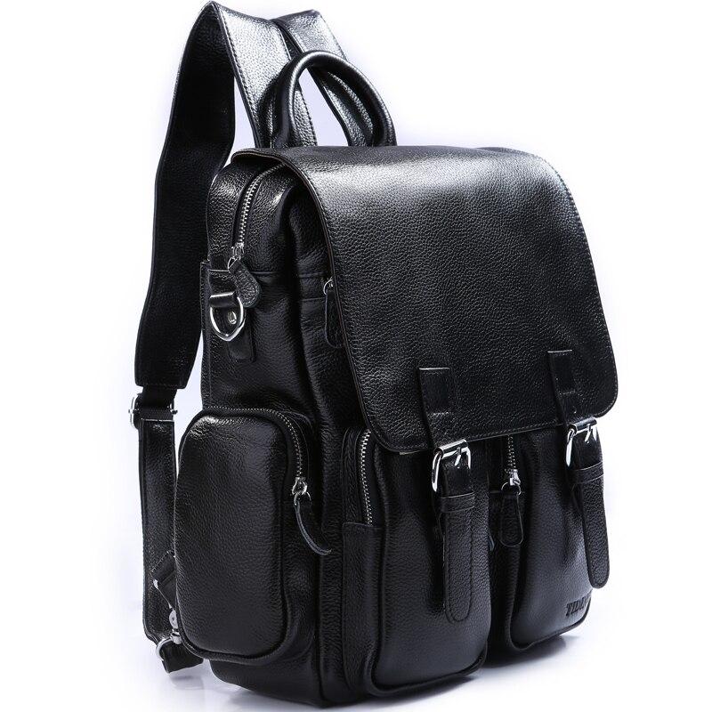 TIDING Zipper backpack for the school student bag black color mens leather backpack 31011 tiding luxury genuine leather solid black color backpack vintage style student bag travel luggage bag backbag