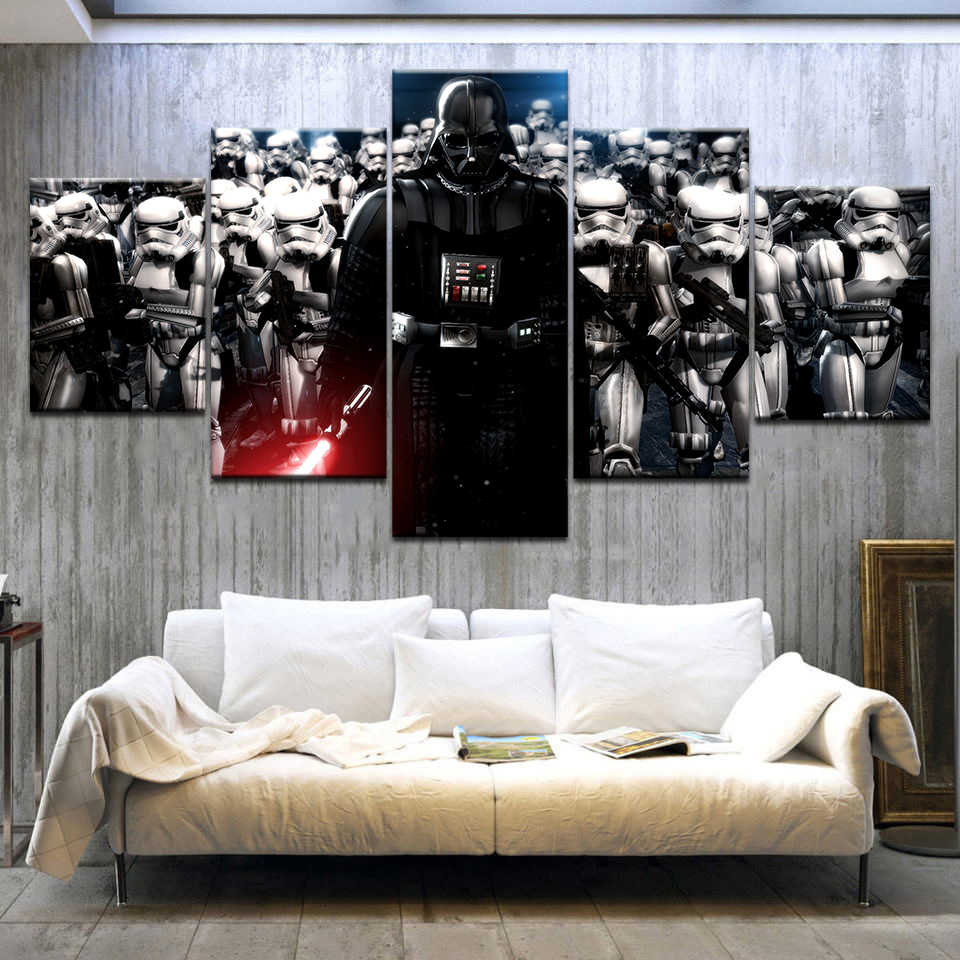 5 Panels Modular Star War Darth Vader Helmet Movie Poster Canvas Painting Wall Art Print Home Decor Picture Frame Artwork