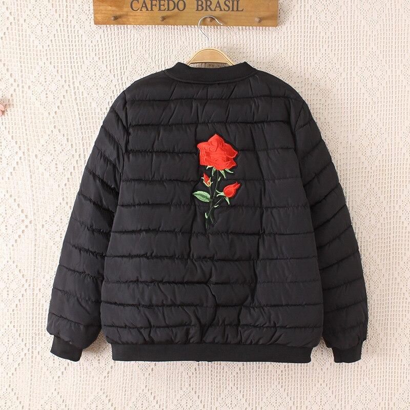 2019 зимняя куртка с хлопковой подкладкой, большие размеры 3XL 4XL, Женская куртка с цветочными нашивками, Женское зимнее пальто 5XL, Женская куртка бомбер, парки - 2