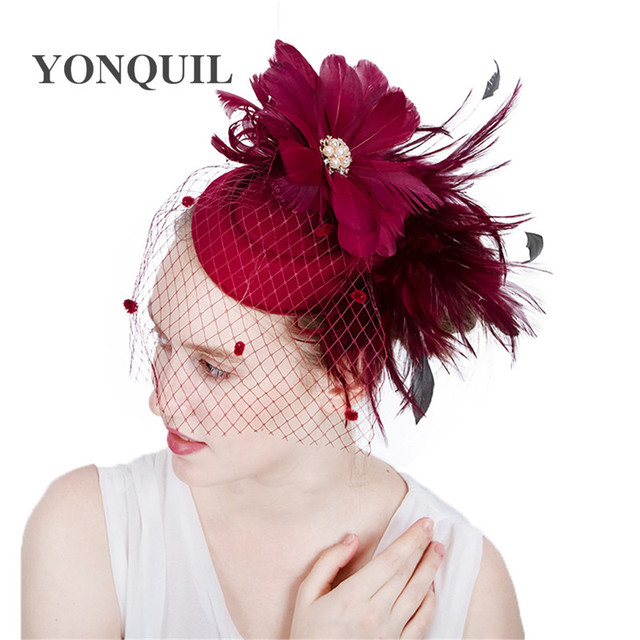 deb89e9d kentucky sinamay fascinators with marron feather derby Occasion Melbourne  race church hat bridal wedding headpieces Multicolors
