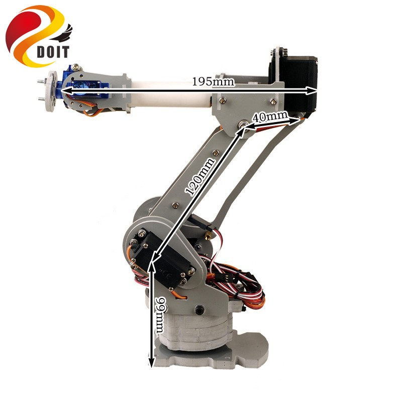 6 DoF Robotic Arm Model Motor Servo CNC All Metal Robot Arm Structure Servos Industrial Robot DIY RC Toy UNO jx pdi 5521mg 20kg high torque metal gear digital servo for rc model
