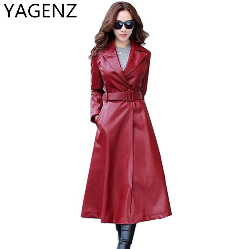 YAGENZ Spring/Autumn Women Pu   Leather   Coat Fashion High-end Slim Belt Black   Leather   Jacket Plus size PU   Leather   Long Trench Coat