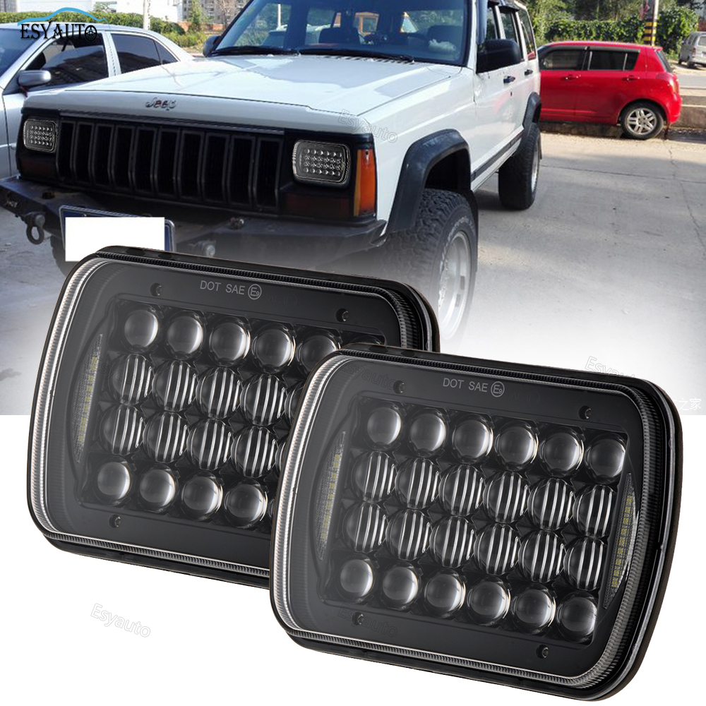7x6 Inch LED Headlights Rectangular 72W 5D Lens Sealed Hi/Lo Beam with White DRL H6014 H6052 H6054 for Jeep Cherokee XJ