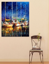 Night Harbor Sailing Boat – 100% Hand-painted Palette Knife Oil Painting Wall Art Picture for Office Home Hotel Decor