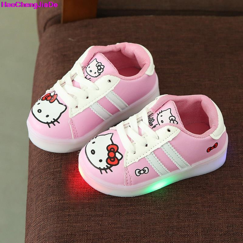 HaoChengJiaDe Spring/autumn Lace up LED Lighted Child Sneakers Cute Tennis Breathable Baby Girls Boys Shoes Lovely Kids Toddlers