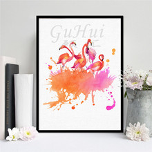 GuHui Pink Dream Watercolor Canvas Painting Modern Animals